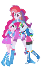 Size: 720x1280 | Tagged: safe, artist:tsundra, pinkie pie, rainbow dash, oc, oc:hybrid energy, equestria girls, balloon, boots, bracelet, clothes, compression shorts, fusion, high heel boots, high heels, jewelry, self ponidox, simple background, skirt, socks, time paradox, transparent background