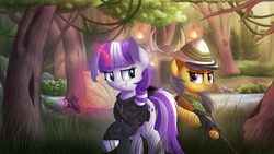 Size: 1920x1080 | Tagged: safe, artist:vanillaghosties, daring do, twilight velvet, pegasus, pony, unicorn, series:daring did tales of an adventurer's companion, ak-47, assault rifle, bipedal, clothes, duo, fanfic, fanfic art, female, fire, forest, grass, grin, gun, hat, magic, map, mare, outdoors, raised hoof, rifle, smiling, standing, tree, weapon