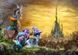 Size: 1920x1360 | Tagged: safe, artist:assasinmonkey, discord, starlight glimmer, thorax, trixie, changeling, draconequus, pony, unicorn, to where and back again, changeling hive, changeling kingdom, epic, reformed four, scenery, spire