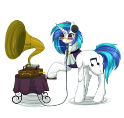 Size: 800x761 | Tagged: artist:peachmayflower, dj pon-3, phonograph, safe, solo, victrola scratch, vinyl scratch