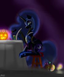 Size: 5000x6000 | Tagged: safe, artist:moobew, nightmare moon, bat, absurd resolution, candle, candy, dark, drink, female, food, halloween, jack-o-lantern, lollipop, nightmare night, pumpkin, pumpkin bucket, signature, sitting, solo, stool, table