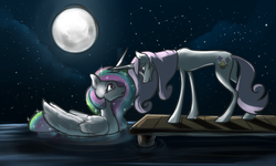 Size: 1280x768 | Tagged: safe, artist:jykinturah, artist:maxiima, fleur-de-lis, princess celestia, alicorn, duck pony, pony, unicorn, crack shipping, cute, eye contact, female, fleurestia, frown, full moon, heart, horns are touching, lesbian, lidded eyes, looking at each other, mare, missing accessory, moon, night, open mouth, pier, shipping, smiling, stars, swanlestia, water, wide eyes