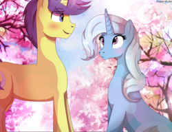 Size: 2629x2019 | Tagged: safe, artist:asika-aida, comet tail, trixie, pony, unicorn, cometrix, male, shipping, straight, tree