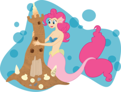 Size: 800x607 | Tagged: safe, artist:lozartist, pinkie pie, human, mermaid, breasts, cleavage, earfins, female, humanized, mermaidized, sandcastle, seashell, simple background, solo, species swap, transparent background, underwater