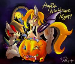 Size: 1497x1275 | Tagged: safe, artist:renokim, oc, oc only, oc:bloody fudge, oc:melt caramel, bat pony, pony, bat pony oc, candy, food, halloween, jack-o-lantern, one eye closed, pumpkin, pumpkin bucket, wink