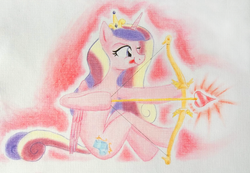 Size: 4080x2824 | Tagged: safe, artist:friendshipishorses, princess cadance, aiming, anatomically incorrect, arrow, bow (weapon), bow and arrow, cupid, cupidance, female, heart arrow, incorrect leg anatomy, looking away, princess of love, princess of shipping, shipper on deck, sitting, solo, tongue out, traditional art, weapon