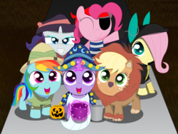 Size: 3000x2250 | Tagged: safe, artist:spellboundcanvas, applejack, fluttershy, pinkie pie, rainbow dash, rarity, twilight sparkle, earth pony, pegasus, pony, unicorn, animal costume, applelion, bunny ears, clothes, costume, cute, dangerous mission outfit, daring do cosplay, detective rarity, eyepatch, eyes closed, female, filly, freckles, glowing horn, goggles, halloween, hat, holiday, hoodie, jack-o-lantern, levitation, looking at you, magic, mane six, nightmare night, pirate, pumpkin, pumpkin bucket, smiling, spellboundcanvas is trying to murder us, star swirl the bearded costume, telekinesis, trick or treat, younger