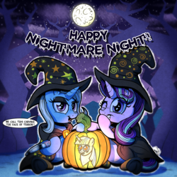 Size: 2000x2000   Tagged: safe, artist:gray--day, starlight glimmer, trixie, pony, unicorn, cape, clothes, cute, dialogue, diatrixes, eyeshadow, full moon, glimmerbetes, halloween, happy nightmare night, hat, hoof hold, jack-o-lantern, knife, looking at you, makeup, moon, night sky, nightmare night, open mouth, pumpkin, scenery, sitting, socks, speech bubble, stars, striped socks, underhoof, wink, witch, witch hat