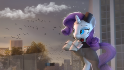 Size: 1920x1080 | Tagged: safe, artist:flutterdaz, rarity, bird, 3d, city, clothes, fancy, female, flower, flower in mouth, hat, lidded eyes, mouth hold, rearing, reference, rose, solo, source filmmaker, steven universe, top hat, tree, tuxedo