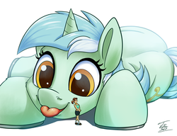 Size: 1500x1149 | Tagged: safe, artist:tsitra360, lyra heartstrings, human, pony, :p, clothes, cute, giant lyra heartstrings, giant pony, macro, mega lyra, micro, midriff, shoes, signature, simple background, size difference, socks, tongue out