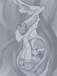 Size: 648x864   Tagged: safe, artist:shaxbert, silver spoon, equestria girls, legend of everfree, camp everfree, carnivorous plant, clothes, eaten alive, fetish, glasses, monochrome, peeved, peril, pitcher plant, plant, plant vore, predation, shorts, sketch, vore