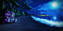 Size: 2000x1000 | Tagged: safe, artist:ruhisu, oc, oc only, beach, duo, moon, night, palm tree, scenery, tree