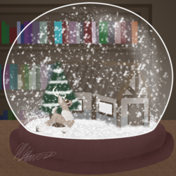 Size: 2000x2000 | Tagged: safe, artist:hoodwinkedtales, oc, oc only, oc:snowy, deer, reindeer, fanfic:the globe trotter, antlers, cabin, chest fluff, cover art, cute, happy, library, prancing, shelf, smiling, snow, snowfall, solo, tree