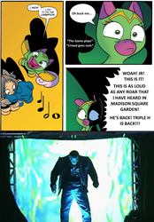 Size: 775x1115 | Tagged: cheerilee, cloverleaf, monday night raw, raw, safe, spoiler:comic, spoiler:comic29, surprise entrance meme, triple h, triple hhh, wwe