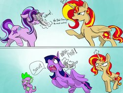 Size: 1023x769 | Tagged: safe, artist:firimil, spike, starlight glimmer, sunset shimmer, twilight sparkle, alicorn, pony, unicorn, every little thing she does, 2 panel comic, alicornified, bad pony, comic, dialogue, do i look angry, fanfic art, floppy ears, frown, horn impalement, levitation, magic, newspaper, nose in the air, nose wrinkle, open mouth, race swap, raised hoof, raised leg, shimmercorn, stifling laughter, story included, swatting, telekinesis, twilight sparkle (alicorn)