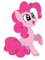 Size: 1936x2592   Tagged: safe, artist:squipycheetah, pinkie pie, earth pony, pony, cute, diapinkes, female, happy, mare, open mouth, raised hoof, shading, simple background, sitting, smiling, solo, transparent background, vector