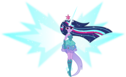 Size: 8500x5242   Tagged: safe, artist:orin331, twilight sparkle, equestria girls, friendship games, absurd resolution, alternate universe, clothes, daydream shimmer, daydream sparkle, daydream-ified, dream sparkle, dress, elf ears, female, flash puppet, floating, gloves, princess dress, simple background, sleeveless, solo, sparkling, transparent background, twilight sparkle (alicorn), vector