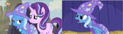Size: 1278x364 | Tagged: safe, edit, edited screencap, screencap, starlight glimmer, trixie, pony, unicorn, to where and back again, comparison, eye, eyes, female, mare
