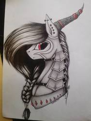 Size: 720x960   Tagged: source needed, safe, artist:lanteria, oc, oc only, oc:lanteria, armor, bust, portrait, solo, traditional art