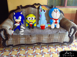 Size: 2592x1936 | Tagged: safe, artist:jocelynminions, rainbow dash, crossover, despicable me, doraemon, food, irl, minion, photo, ponies in real life, popcorn, sonic boom, sonic the hedgehog, sonic the hedgehog (series)