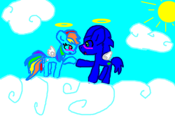 Size: 600x427 | Tagged: safe, artist:sondashfan4ever, rainbow dash, angel pony, angel, crossover, interspecies, male, ponified, shipping, sonic the hedgehog, sonic the hedgehog (series), sonicdash, straight