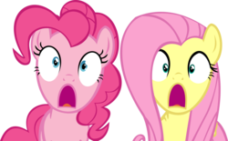 Size: 14138x8784 | Tagged: safe, artist:cyanlightning, fluttershy, pinkie pie, earth pony, pegasus, pony, buckball season, .svg available, absurd resolution, duo, female, jaw drop, mare, open mouth, shocked, simple background, transparent background, vector