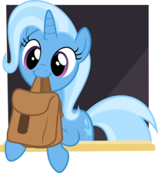 Size: 5000x5493 | Tagged: safe, artist:anonshy, derpibooru exclusive, trixie, pony, unicorn, to where and back again, .svg available, absurd resolution, bag, cute, diatrixes, happy, mouth hold, simple background, solo, to saddlebags and back again, transparent background, vector