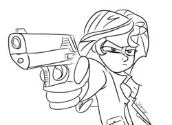 Size: 6399x4660 | Tagged: safe, artist:silverwing, sunset shimmer, human, equestria girls, absurd resolution, clothes, female, gun, monochrome, sketch, smug, solo, trenchcoat, weapon
