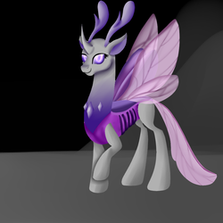 Size: 900x900 | Tagged: safe, artist:bevendre, oc, oc only, oc:queen papillon, changedling, changeling, changeling queen, to where and back again, spoiler:s06, changeling oc, changeling queen oc, female, purple changeling, solo