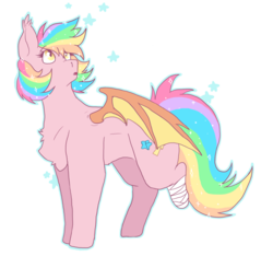 Size: 1024x960 | Tagged: safe, artist:audaheart, oc, oc only, oc:paper stars, bat pony, pony, amputee, chest fluff, ear fluff, simple background, solo, sparkles, transparent background
