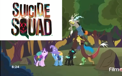 Size: 1721x1080 | Tagged: safe, edit, edited screencap, screencap, discord, starlight glimmer, thorax, trixie, pony, unicorn, to where and back again, female, mare, reformed four, suicide squad