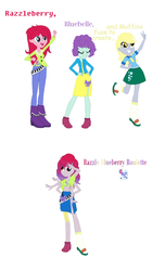 Size: 899x1474 | Tagged: safe, artist:the-75th-hunger-game, blueberry pie, derpy hooves, raspberry fluff, equestria girls, fusion, multiple arms, the muffins