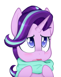 Size: 1080x1350 | Tagged: safe, artist:higgly-chan, starlight glimmer, pony, unicorn, blushing, clothes, cute, female, glimmerbetes, mare, open mouth, scarf, simple background, solo, transparent background, worried