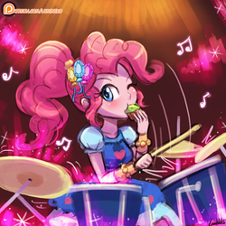 Size: 750x750 | Tagged: alternate hairstyle, artist:lumineko, blushing, clothes, crystal gala, crystal gala dress, cute, dessert, diapinkes, dress, drum kit, drums, drumsticks, eating, equestria girls, female, legend of everfree, muffin, musical instrument, music notes, pinkie pie, playing, safe, solo, speedpaint, wink