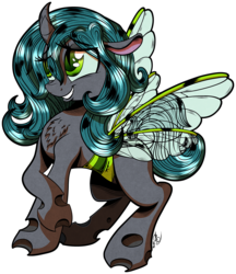 Size: 3167x3673 | Tagged: safe, artist:gray--day, oc, oc only, oc:priscilla, changeling, changeling oc, chest fluff, curved horn, cute, floppy ears, patreon, patreon reward, simple background, smiling, solo, transparent background