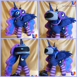 Size: 2000x2000 | Tagged: safe, artist:1stastrastudio, princess luna, gamer luna, clothes, collage, headphones, irl, photo, socks, solo, spread wings, striped socks