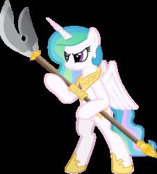 Size: 2064x2280   Tagged: safe, artist:andrevus, princess celestia, alicorn, pony, bipedal, polearm, solo, teenager, weapon