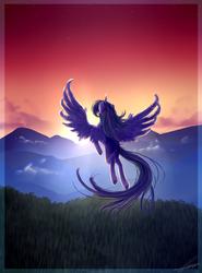 Size: 1700x2300   Tagged: safe, artist:rebeccabluebreeze, twilight sparkle, alicorn, pony, flying, forest, mountain, scenery, solo, twilight (astronomy), twilight sparkle (alicorn)
