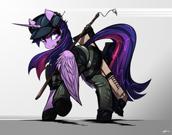 Size: 3696x2893   Tagged: safe, artist:mirapony, twilight sparkle, alicorn, pony, cap, clothes, crossover, gun, hat, headset, implied twidash, keychain, looking back, plot, ranger, shotgun, signature, solo, sword, twibutt, twilight sparkle (alicorn), weapon, x-com, xcom 2