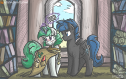 Size: 1300x812 | Tagged: safe, artist:flutterthrash, clover the clever, commander hurricane, blushing, commission, interpretation, library