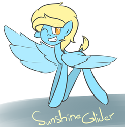 Size: 955x971 | Tagged: safe, artist:umbreow, oc, oc only, oc:sunshine glider, pegasus, pony, grin, one eye closed, smiling, solo, wink
