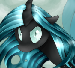 Size: 800x727 | Tagged: safe, artist:okaces, queen chrysalis, changeling, changeling queen, to where and back again, female, scene interpretation, solo