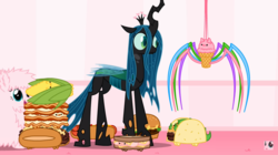 Size: 1358x758 | Tagged: safe, artist:mixermike622, queen chrysalis, oc, oc:fluffle puff, spider, animated at source, burger, corn, food, hamburger, hot dog, ice cream, ice cream spider, lasagna, meat, my little foody, not salmon, pasta, philly cheese steak, sausage, sausage party, taco, wat, wtf