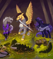 Size: 2400x2672 | Tagged: safe, artist:sitaart, oc, oc:golden dawn, oc:mythos gray, oc:star dream, dragon, pegasus, pony, unicorn, ponyfinder, adventuring party, armor, axe, bard, cave, cavern, cleric, commission, cover art, crossover, danger, dragon's lair, dungeons and dragons, fantasy class, fighting stance, kickstarter, knight, musical instrument, oracle, paladin, pen and paper rpg, roleplaying, rpg, seer, sword, treasure, treasure chest, violin, warrior, weapon