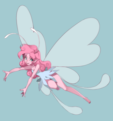 Size: 800x853 | Tagged: artist:kairean, barefoot, breasts, breezie, breeziefied, breezie pie, cleavage, clothes, dress, elf ears, fairy, feet, female, flying, human, humanized, looking at you, open mouth, pinkie pie, pony coloring, safe, simple background, smiling, solo, species swap