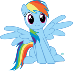 Size: 1800x1740   Tagged: safe, artist:arifproject, rainbow dash, pony, :3, cute, dashabetes, simple background, sitting, sitting catface meme, solo, spread wings, transparent background, vector