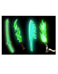 Size: 3121x3979 | Tagged: safe, artist:awesometheweirdo, fallout equestria, crossover, fallout, fire, green magic, magic aura, magic sword, no pony, sword, weapon