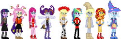 Size: 340x110 | Tagged: safe, artist:toonalexsora007, applejack, derpy hooves, fluttershy, pinkie pie, rainbow dash, rarity, sunset shimmer, trixie, twilight sparkle, equestria girls, clothes, cosplay, costume, crossover, dark magician girl, darkstalkers, elastigirl, final fight, halloween, halloween costume, harry potter, hermione granger, jessie (toy story), mona, mona the vampire, paper bag wizard, paper bags, pixel art, queen bee, simple background, sprite, the incredibles, toy story, transparent background, wonder woman, yu-gi-oh!