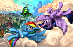 Size: 1920x1233 | Tagged: safe, artist:harwick, rainbow dash, tank, twilight sparkle, alicorn, pegasus, pony, tortoise, backwards cutie mark, canterlot, cloud, cutie mark, female, goggles, grin, hooves, hooves behind head, horn, lesbian, lying on a cloud, mare, on a cloud, on back, open mouth, ponyville, ponyville town hall, propeller, scenery, shipping, sky, smiling, spread wings, twidash, twilight sparkle (alicorn), wings