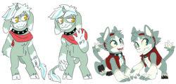 Size: 1366x656 | Tagged: safe, artist:dbkit, oc, oc only, diamond dog, hybrid, pony, clothes, diamond puppy, headband, nose horn, offspring, parent:diamond dog, scarf, simple background, transparent background